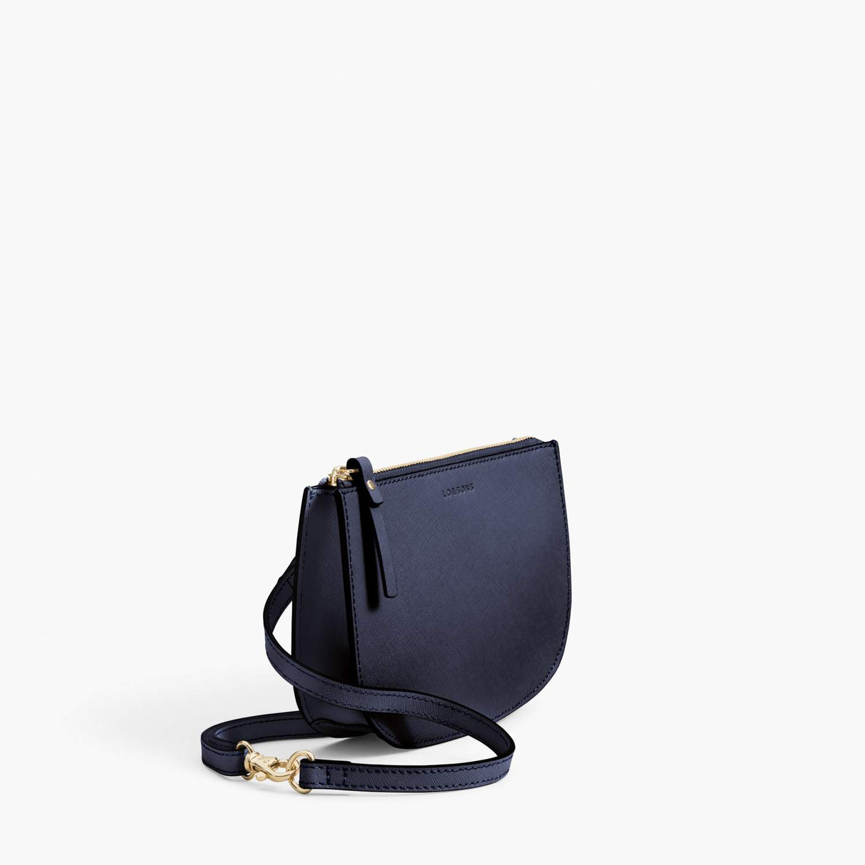 Side - Waverley 2 - Saffiano Leather - Deep Navy / Gold / Camel - Crossbody Bag - Lo & Sons