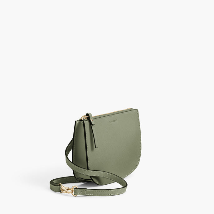 Side - Waverley 2 - Saffiano Leather - Sage Green / Gold / Camel - Crossbody Bag - Lo & Sons