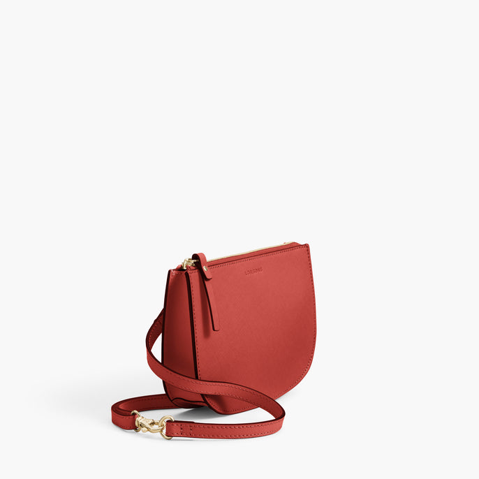 Side - Waverley 2 - Saffiano Leather - Santa Fe Red / Gold / Camel - Crossbody Bag - Lo & Sons