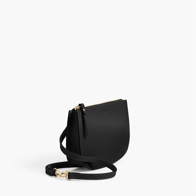 Side - The Waverley 2 - Saffiano Leather - Black / Gold / Grey - Crossbody - Lo & Sons