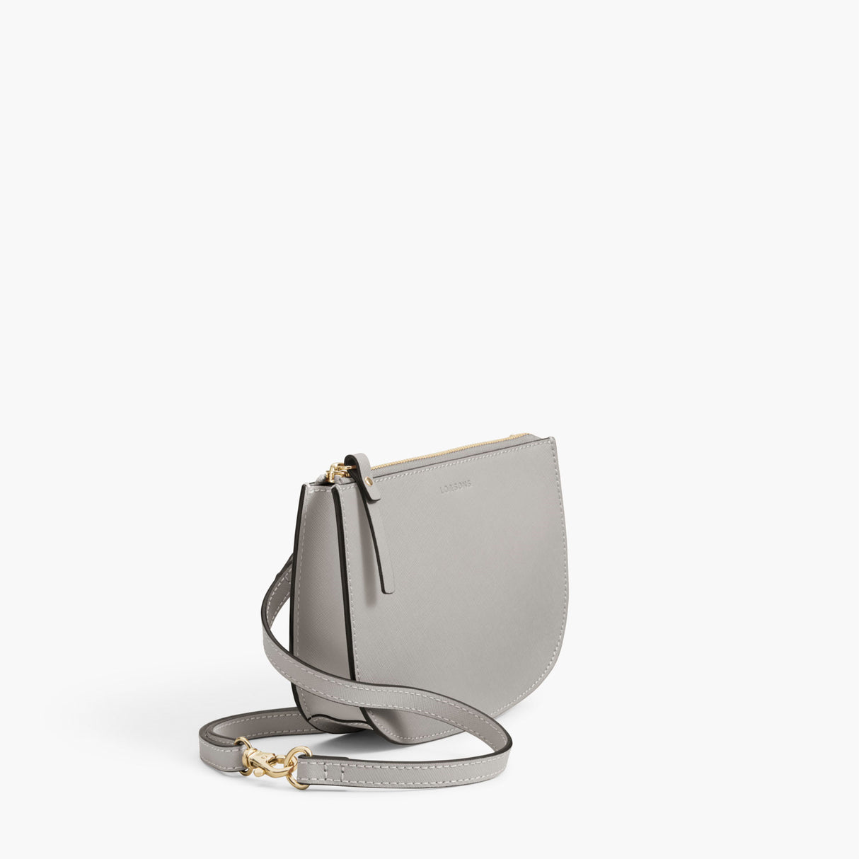 Side - The Waverley 2 - Saffiano Leather - Light Grey / Gold / Grey - Crossbody - Lo & Sons