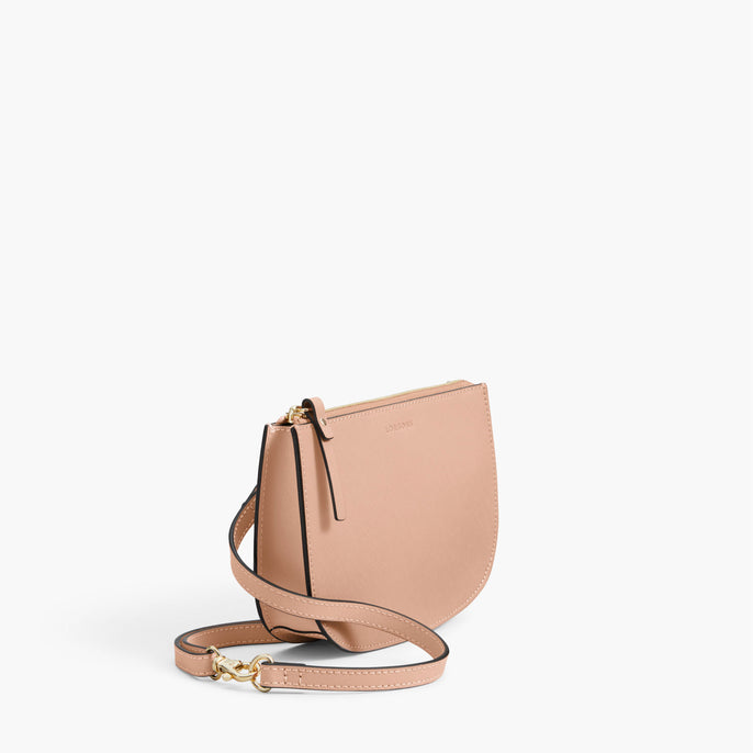 Side - The Waverley 2 - Saffiano Leather - Rose Quartz / Gold / Camel - Crossbody - Lo & Sons