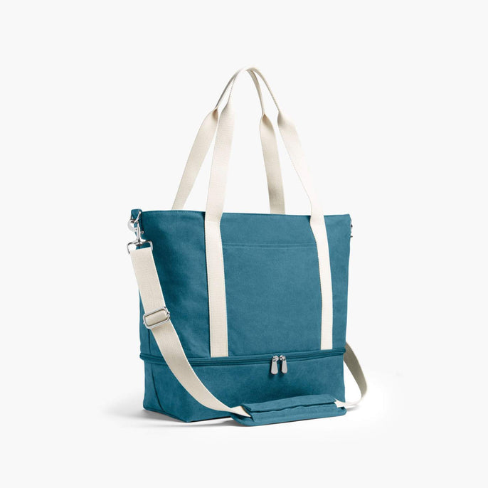 Side - The Catalina Deluxe Tote - Washed Canvas - Teal Blue - Tote - Lo & Sons