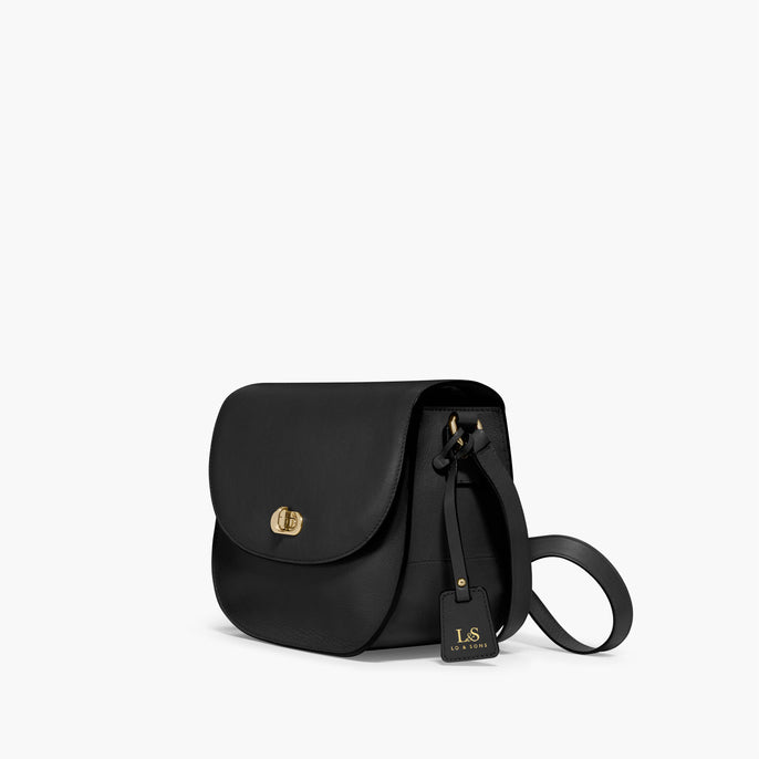 Side - The Claremont - Full Grain Leather - Black - Crossbody - Lo & Sons