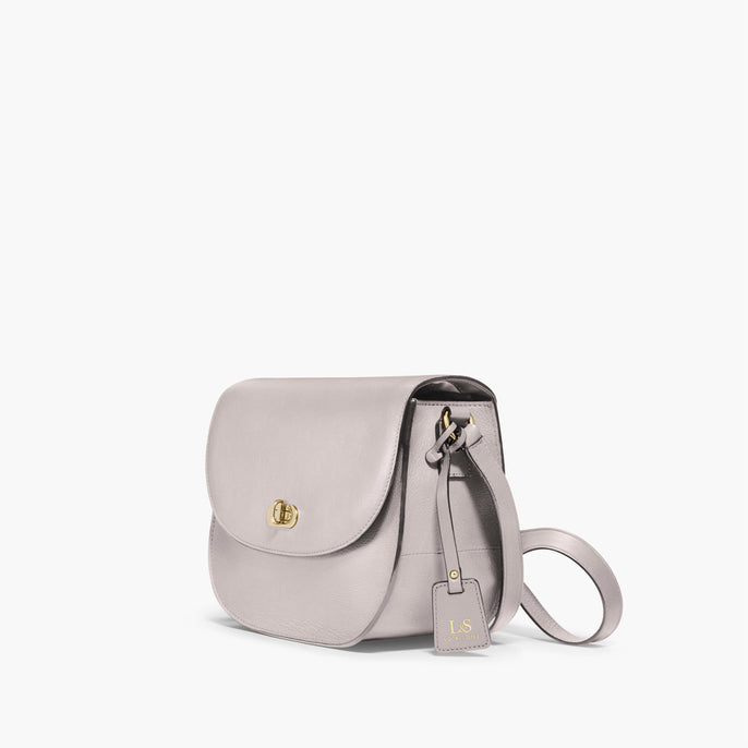Side - The Claremont - Full Grain Leather - Light Grey - Crossbody - Lo & Sons