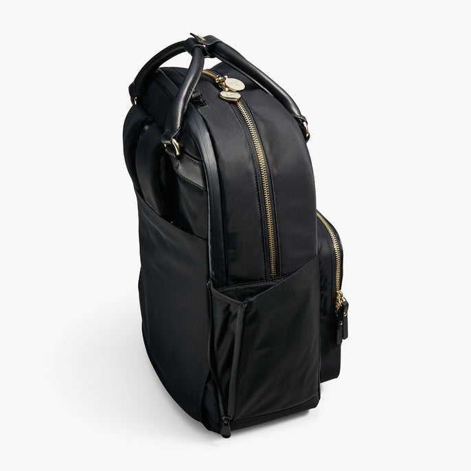 Side Pocket - The Rowledge - Nylon - Black / Gold / Lavender - Backpack - Lo & Sons