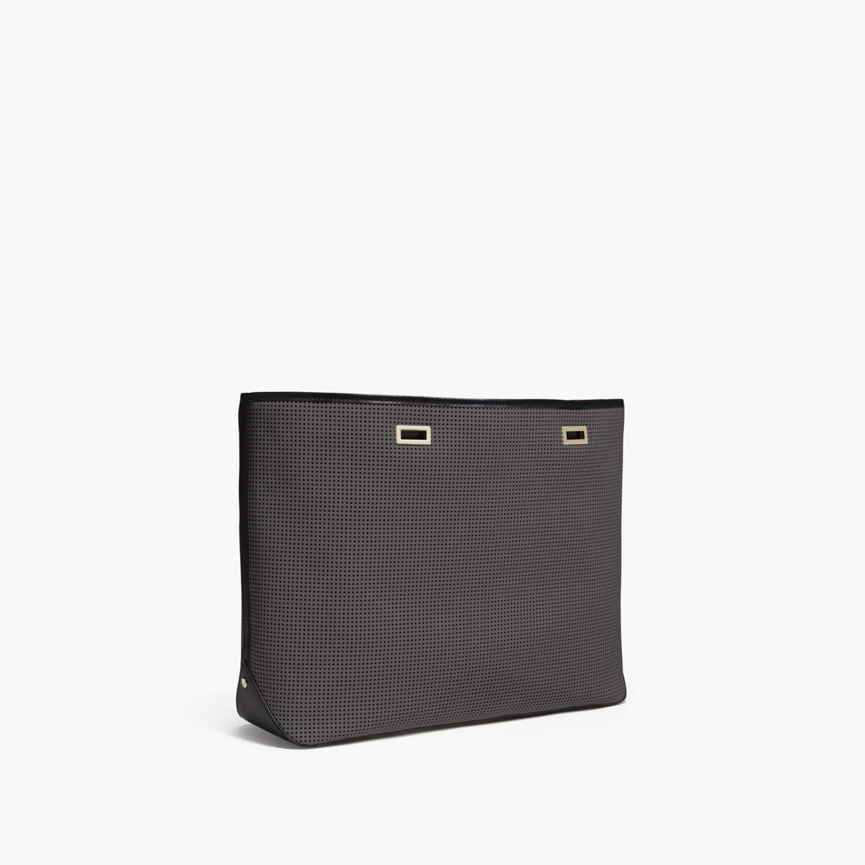 Side - The Seville Shell - Perforated Saffiano Leather - Dark Grey / Gold / Black - Tote - Lo & Sons