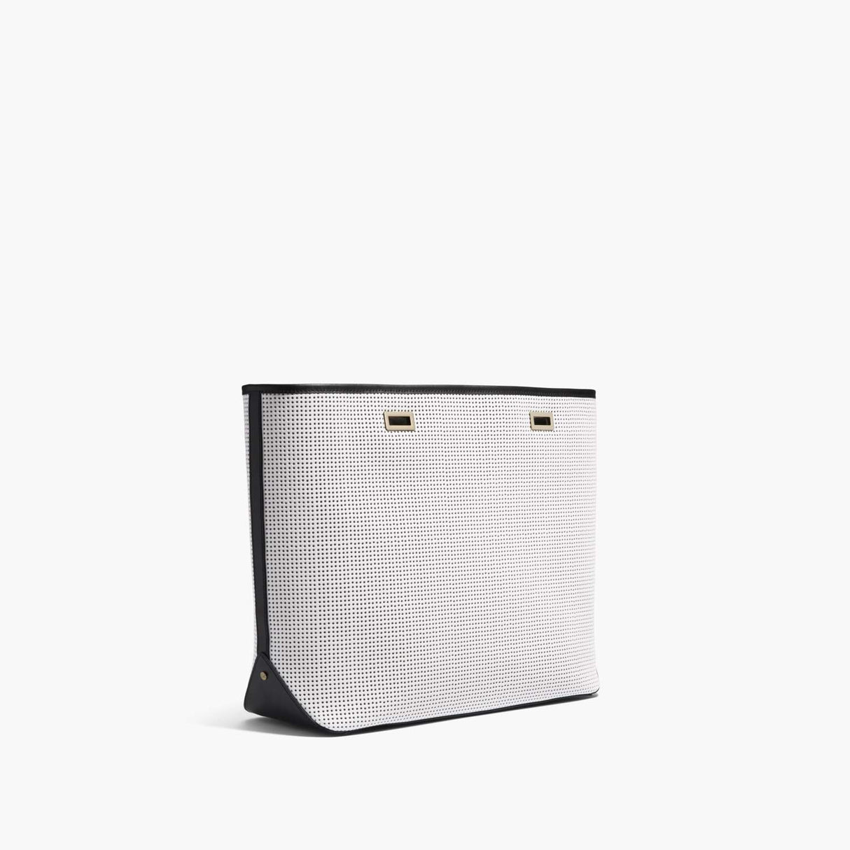 Side - The Seville Shell - Perforated Saffiano Leather - White / Gold / Black - Tote - Lo & Sons