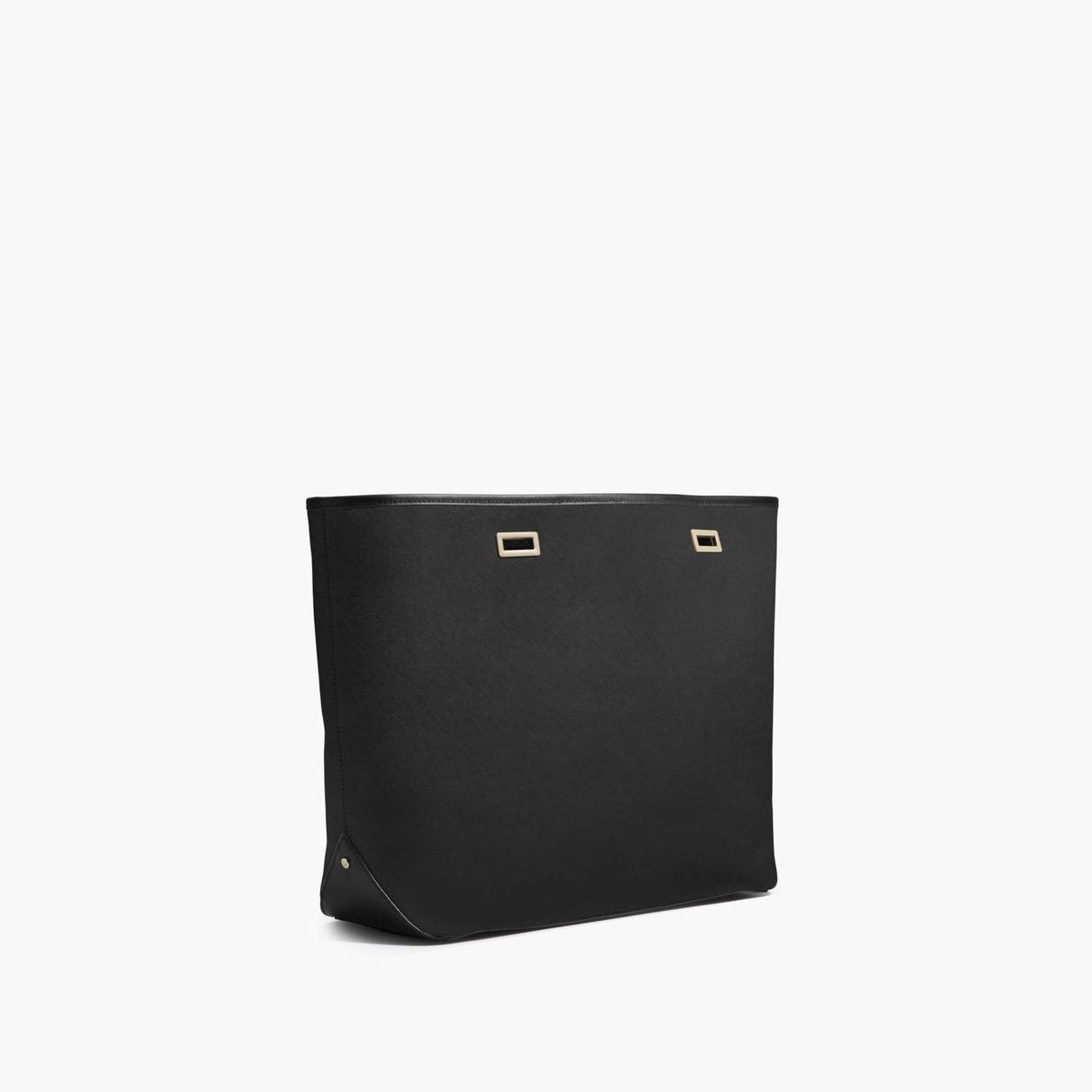 Side - The Seville Shell - Saffiano Leather - Black / Gold / Black - Tote - Lo & Sons