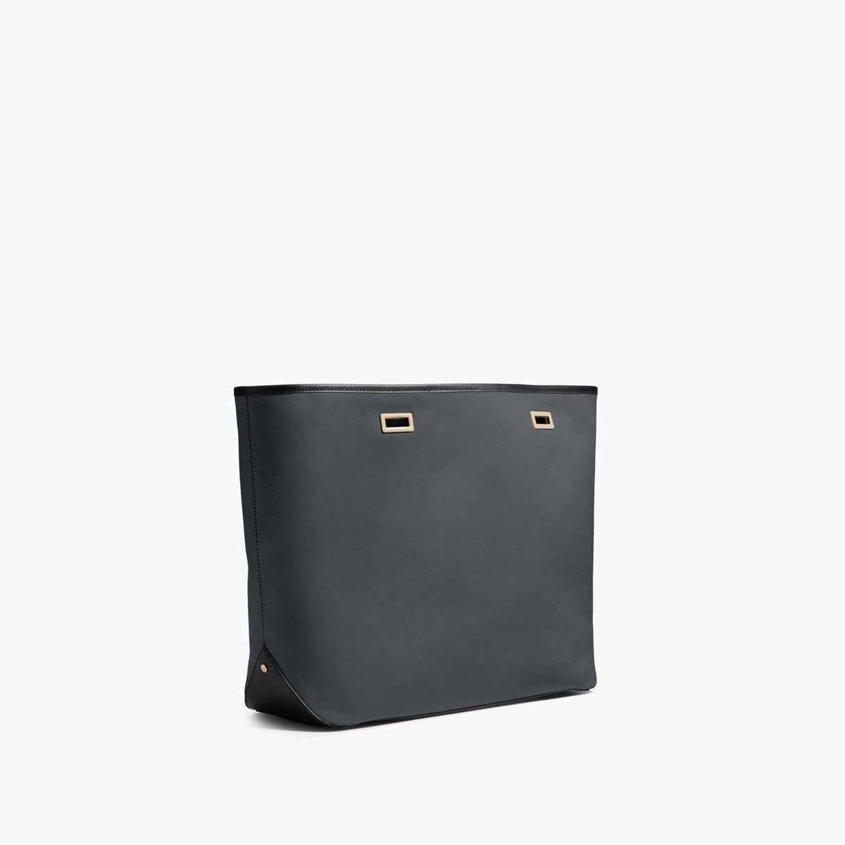 Side - The Seville Shell - Saffiano Leather - Dark Grey / Gold / Black - Tote - Lo & Sons