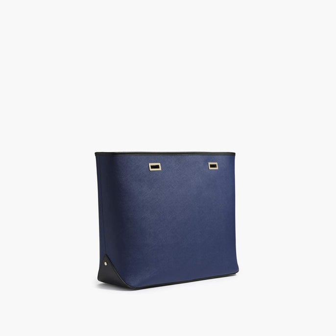 Side - The Seville Shell - Saffiano Leather - Navy / Gold / Black - Tote - Lo & Sons