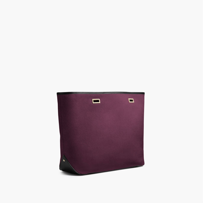 Side angle - Seville - Saffiano Leather - Plum/Gold/Black - Tote - Lo & Sons