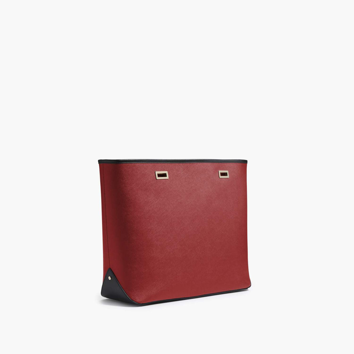 Side - The Seville Shell - Saffiano Leather - Red / Gold / Black - Tote - Lo & Sons