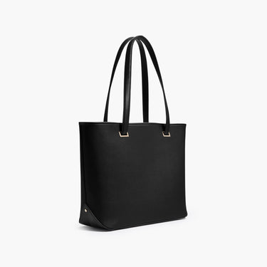 Side - The Seville Tote - Saffiano Leather - Black / Gold / Grey - Tote - Lo & Sons