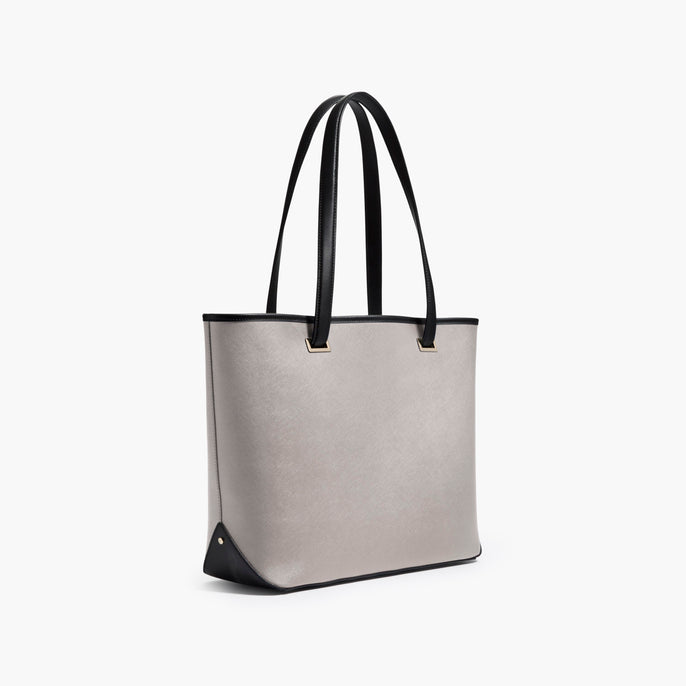 Side - The Seville Tote - Saffiano Leather - Light Grey / Gold / Grey - Tote - Lo & Sons