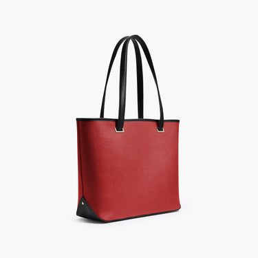 Side - The Seville Tote - Saffiano Leather - Red / Gold / Grey - Tote - Lo & Sons