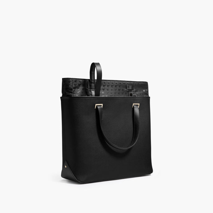 Swappable Shell - The Seville Tote - Saffiano Leather - Black / Gold / Grey - Tote - Lo & Sons