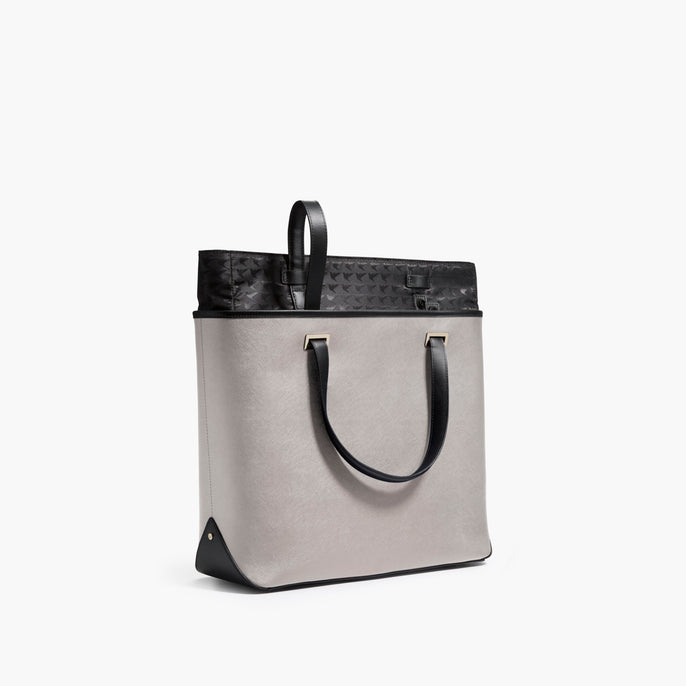 Swappable Shell - The Seville Tote - Saffiano Leather - Light Grey / Gold / Grey - Tote - Lo & Sons
