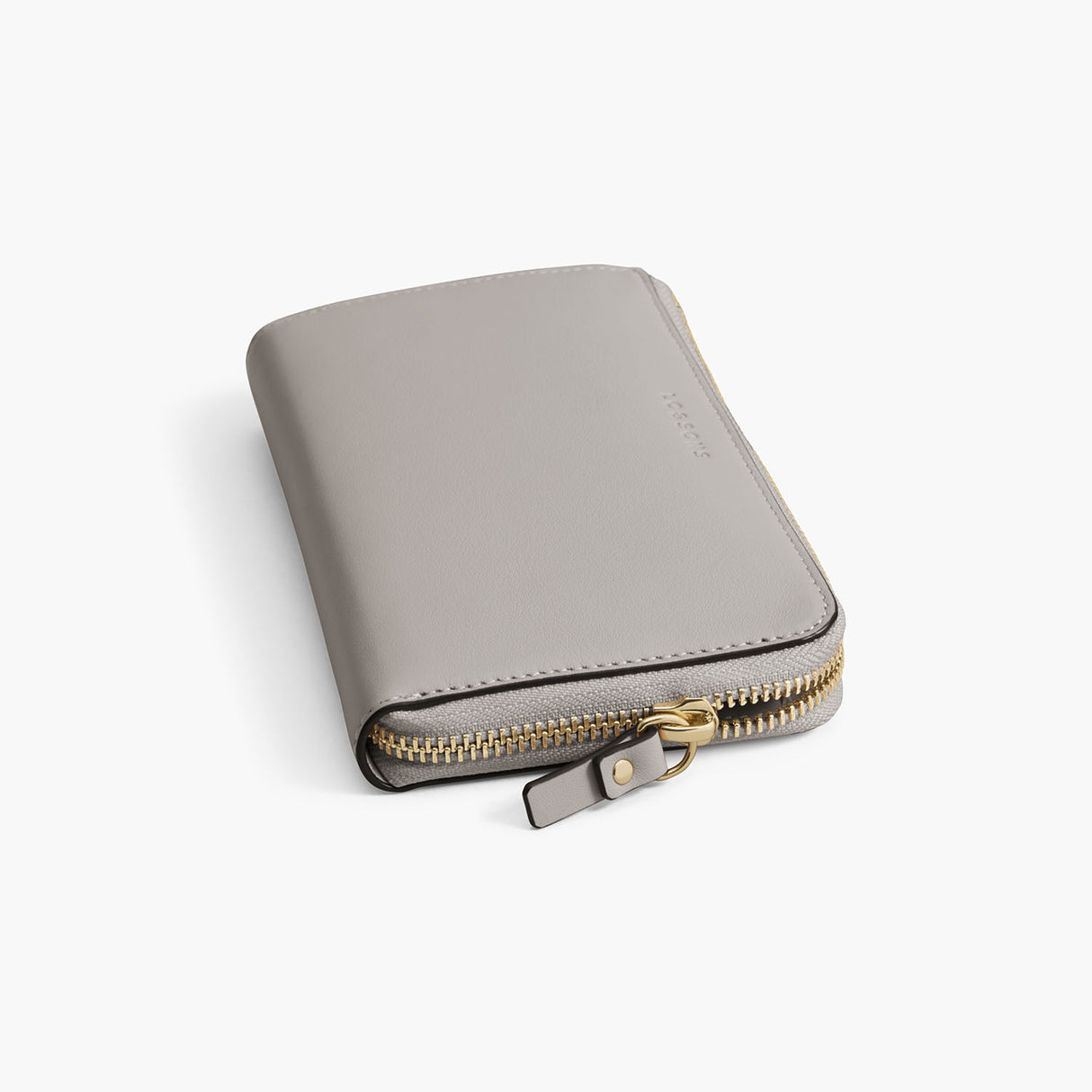 Zipper Detail - The Leather Wallet - Nappa Leather - Light Grey / Gold / Grey - Small Accessory - Lo & Sons