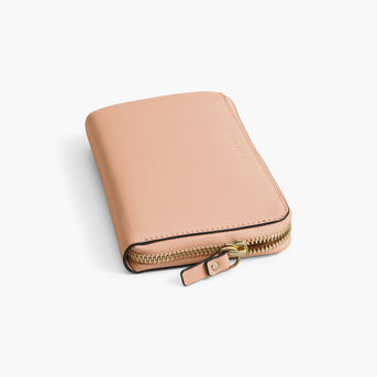 Zipper Detail - The Leather Wallet - Nappa Leather - Rose Quartz / Gold / Camel - Small Accessory - Lo & Sons