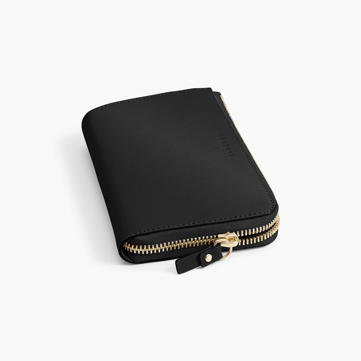 Zipper Detail - The Leather Wallet - Saffiano Leather - Black / Gold / Grey - Small Accessory - Lo & Sons