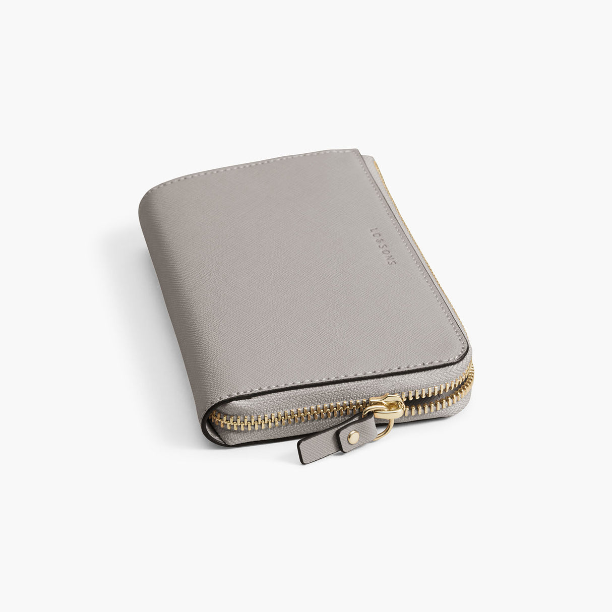 Zipper Detail - The Leather Wallet - Saffiano Leather - Light Grey / Gold / Grey - Small Accessory - Lo & Sons