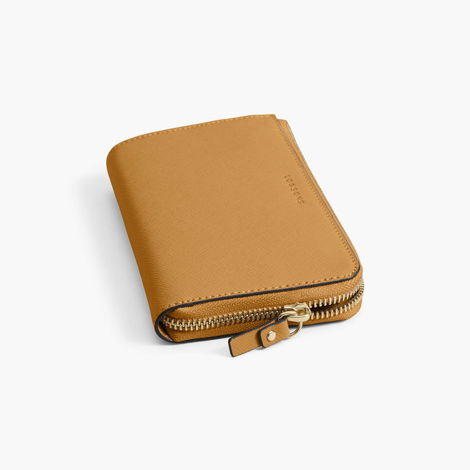 Zipper Detail - The Leather Wallet - Saffiano Leather - Sand / Gold / Camel - Small Accessory - Lo & Sons