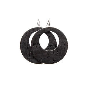 Black Cork Halo Leather Earrings