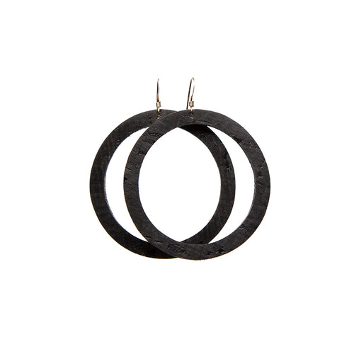 Black Cork Hoop Leather Earrings