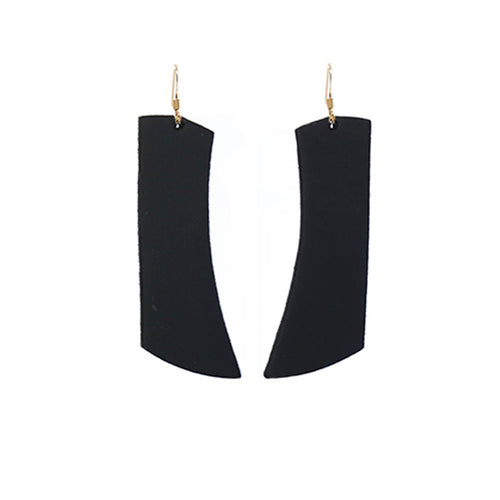 Black Italia Leather Earrings