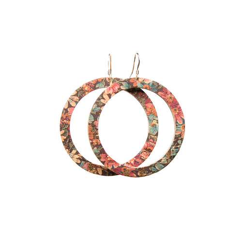 Fall Floral Hoop Leather Earrings