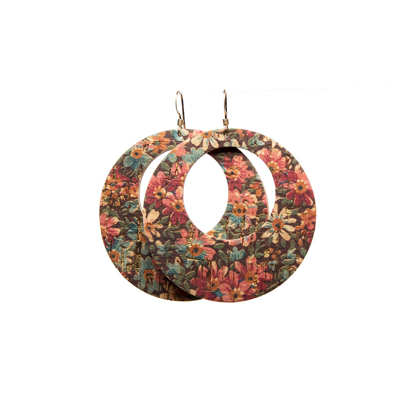 Fall Floral Halo Leather Earrings