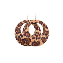 Load image into Gallery viewer, Leopard Cork Halo Leather Earrings
