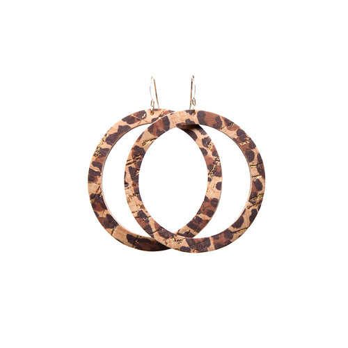 Leopard Cork Hoop Leather Earrings
