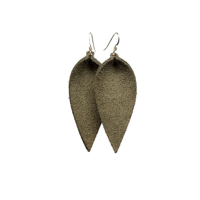 Olive Petal Leather Earring