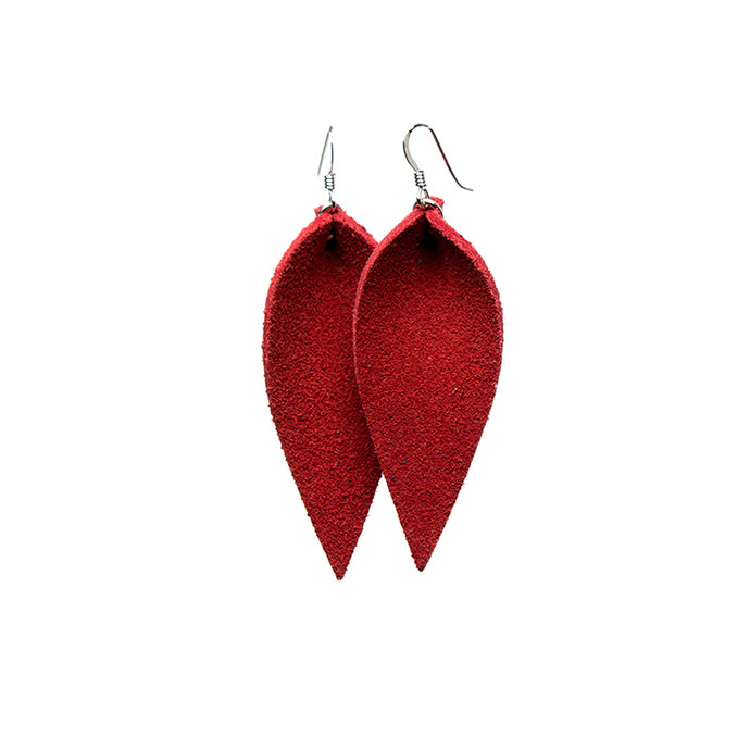 Red Petal Leather Earrings