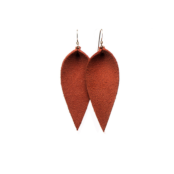 Rust Petal Leather Earrings