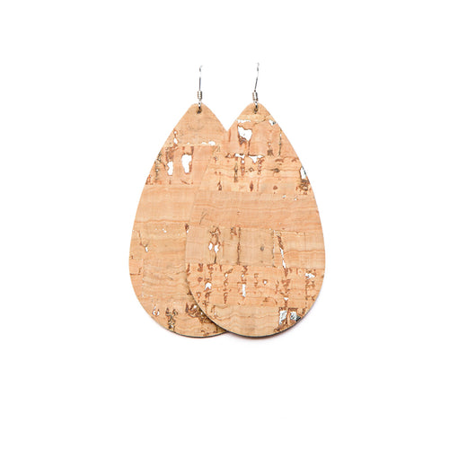 Silver Cork Tear Drop Leather Earrings