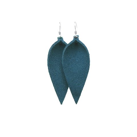 Teal Colored Leather Earrings in a single flower petal design on sterling silver nickle free hooks