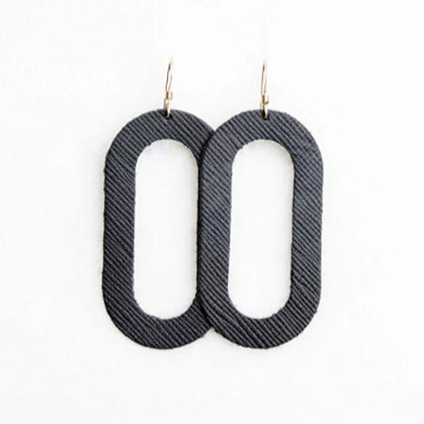 Black Porta Leather Earrings on Sterling Silver Hooks