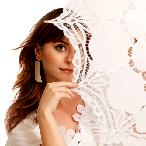 Model Wearing L'oro Italia Design | Leather Earrings with Sterling Silver Hooks Made in Canada