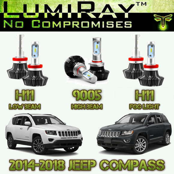 LumiRay™ LED Headlight HI/LO and Fog Light Package for 2014-2018 Jeep Compass