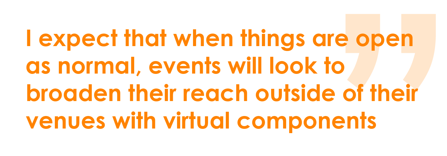 I expect that when things are open as normal, events will look to broaden their reach outside of their venues with virtual components