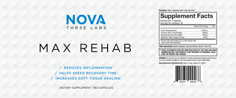 Nova 3 Labs - Max Rehab - Nutritional Facts