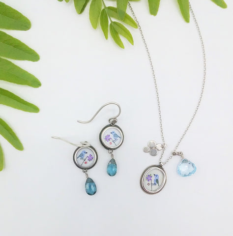 Dandelion in Saucon Valley Ananda Khalsa Blue Bird Hand Painted Earrings and Necklace