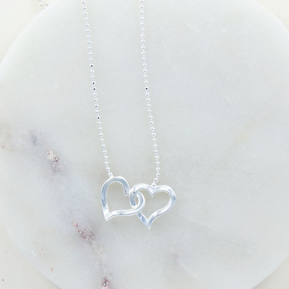 DOUBLE OPEN HEART NECKLACE ON BALL CHAIN