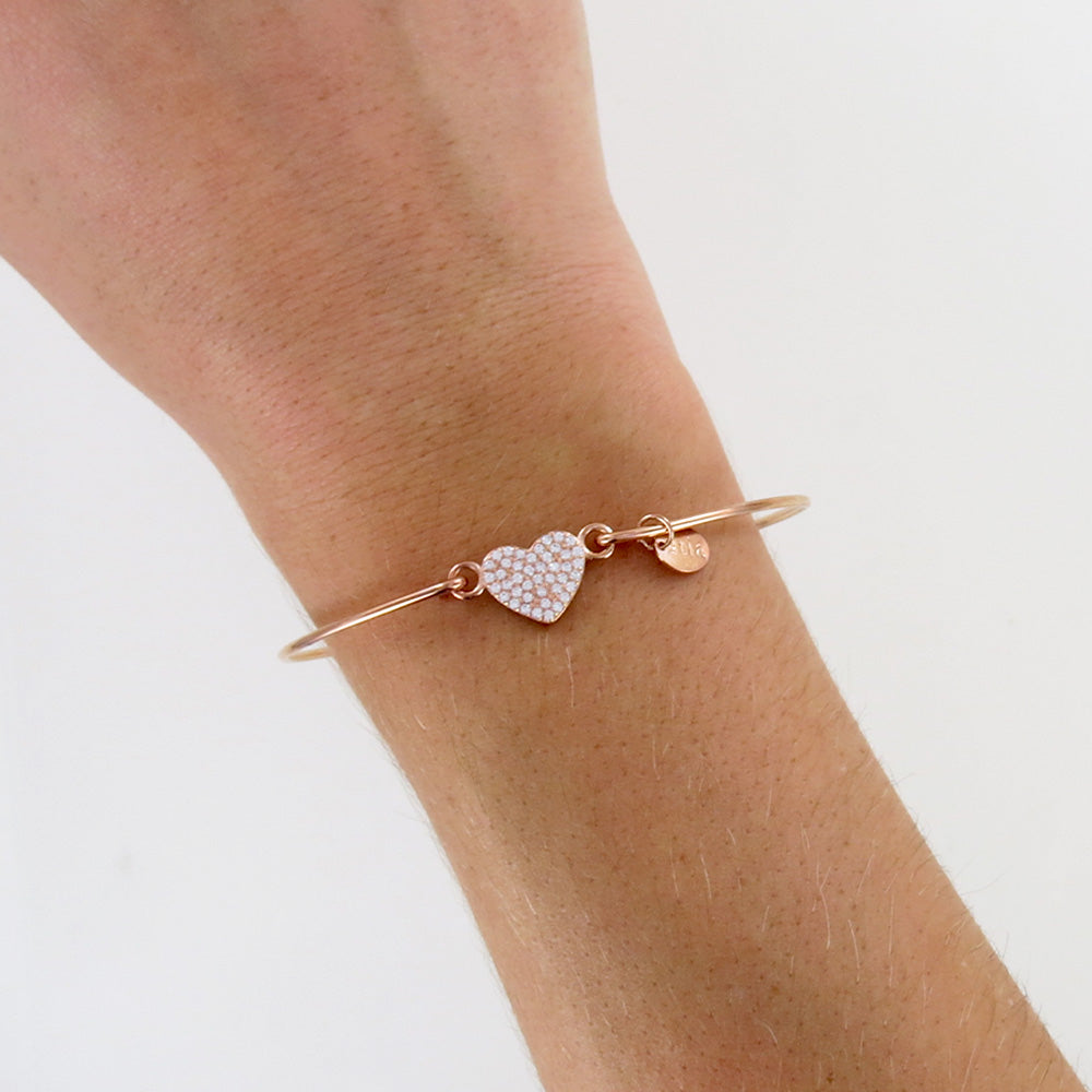 ROSE GOLD PAVE HEART BRACELET