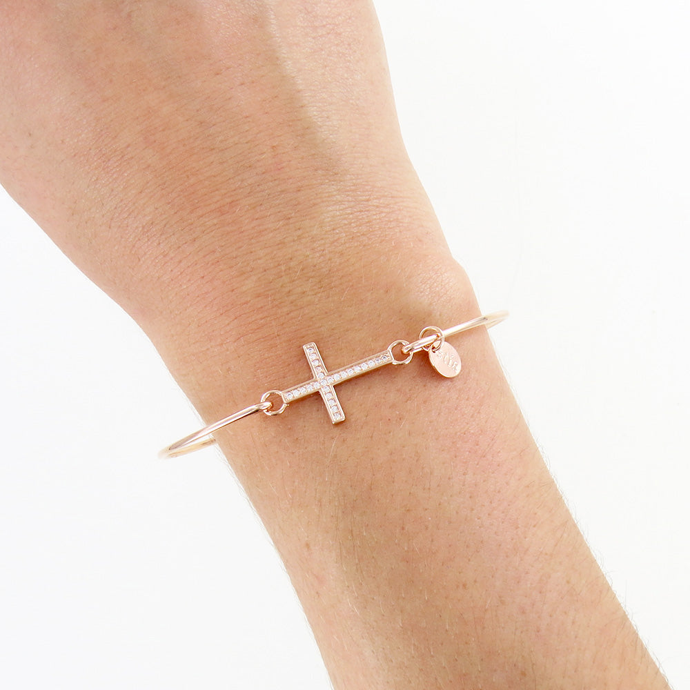 Rose Gold Pavé Cross Bracelet