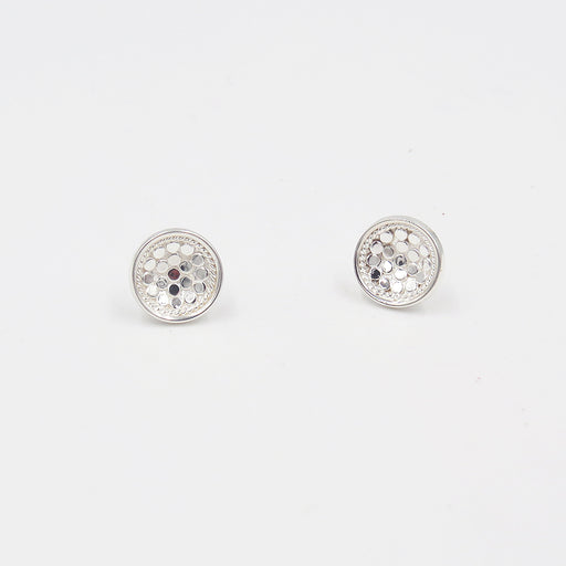 SILVER DISH STUD EARRINGS