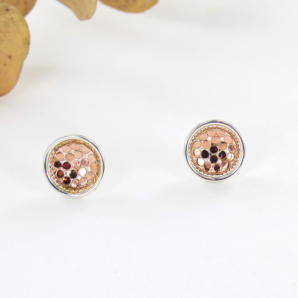 ROSE GOLD AND STERLING SILVER DISH STUD EARRING